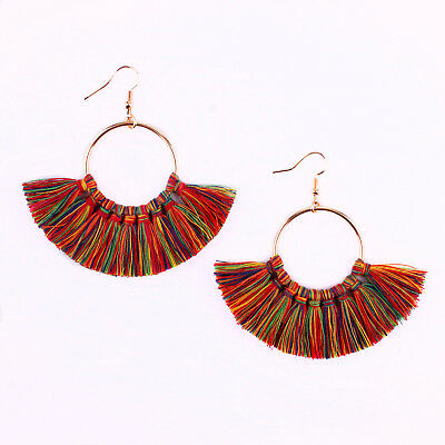 (Bohemian Style Fan Shaped Tassel Statement Hoop Earrings Summer Fashion Jewelry)