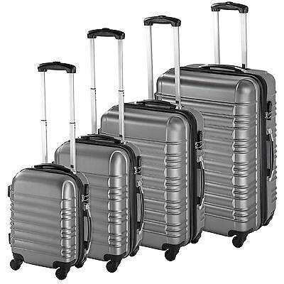 ABS Reisekoffer Set 4tlg. Trolley Kofferset Hartschalenkoffer Hartschale silber