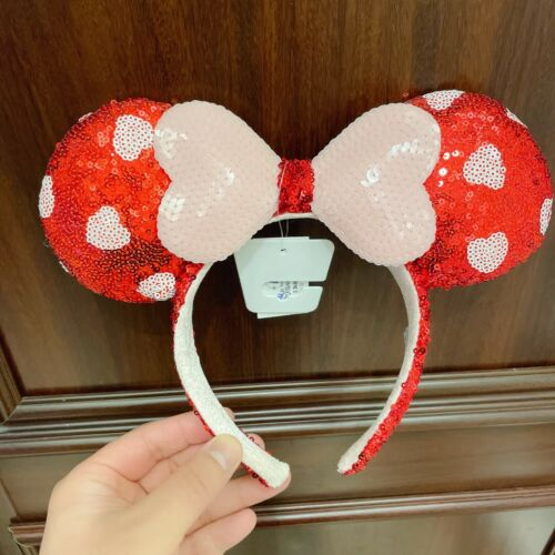 Authentic Disney park 2021 Minnie Mouse ear headband red heart sequined bow