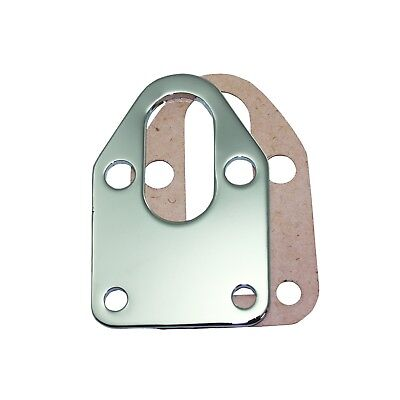 Fuel Pump Mounting Plate - Chrome Steel Small Block Chevy Fuel Pump Mounting Plate With Gasket 283 327 350