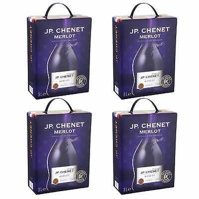 4x Merlot IGP JP. Chenet Rotwein trocken Bag-in-Box BiB 3L Languedoc Frankreich
