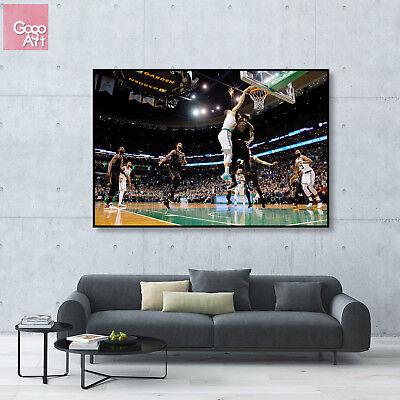 Basketball Poster Print (Canvas print wall art big poster Jayson Tatum Celtics NBA basketball dunk)