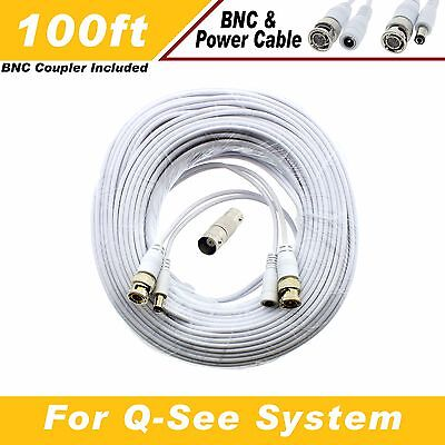 WHITE PREMIUM 100Ft CCTV SURVEILLANCE BNC EXTENSION CABLES FOR Q-SEE SYSTEMS