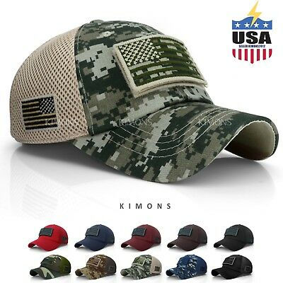 Mesh Back Baseball Hat (USA American Flag hat Detachable Baseball Mesh Back Military Army cap US )