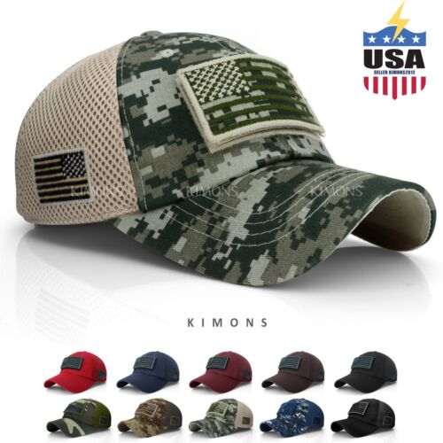 USA American Flag hat Detachable Baseball Mesh Back Military Army cap US