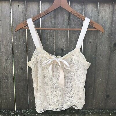 Vintage 1920s 1930s Camisole Lingerie Top Hand Crochet Lace Silk Ribbon -