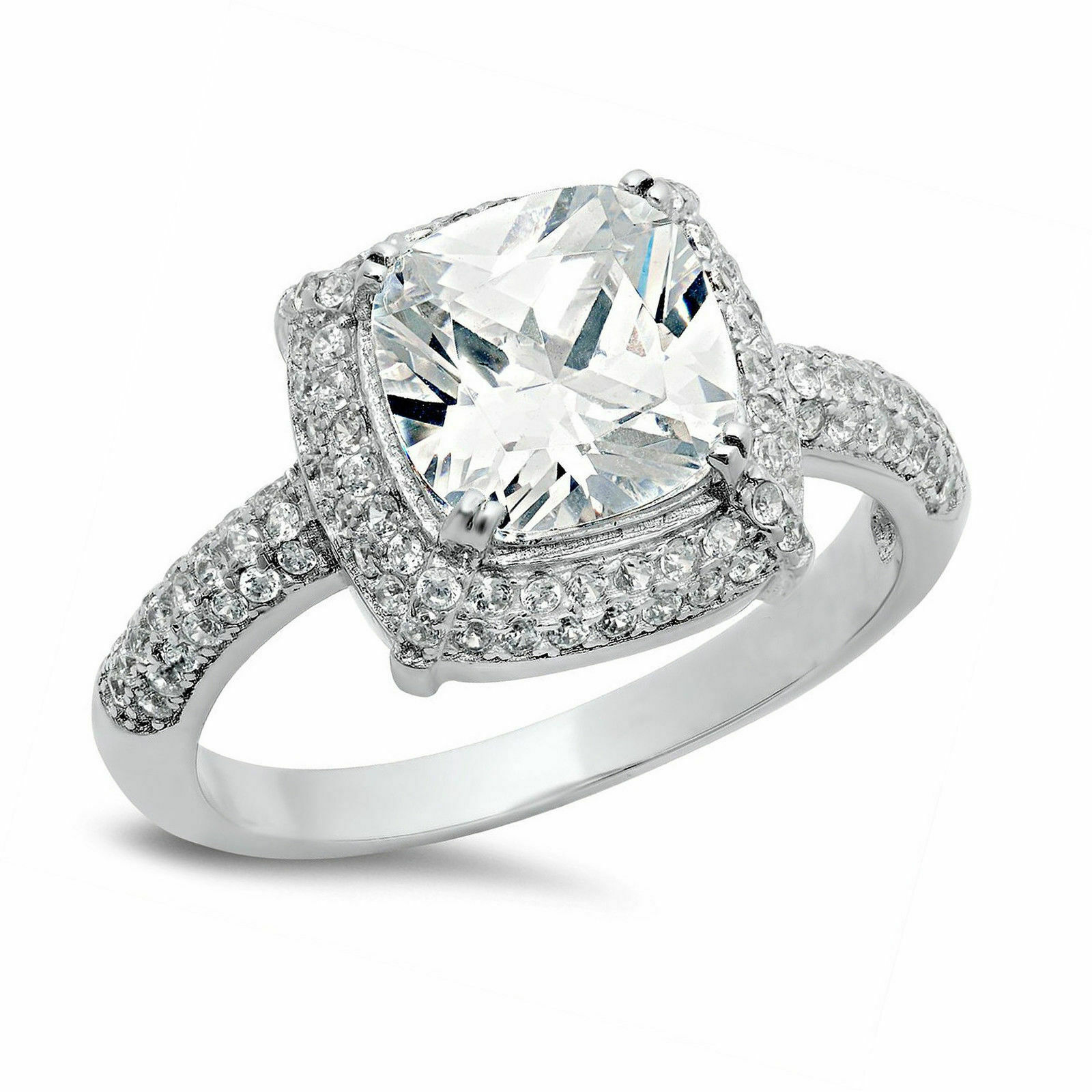 GIA Certified Diamond Engagement Ring 3.30 carat Cushion Cut 18k White Gold