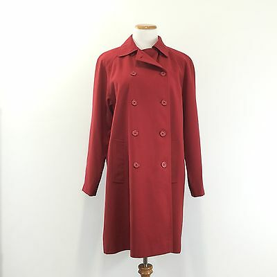 Gorgeous GALLERY Womens M Red Mid Length Trench Coat Pleated Back Fully Lined -