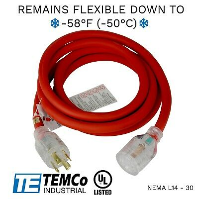 Temco 10ft Cold Weather Generator Cord Red Nema L14-30 125250v 30a Ul