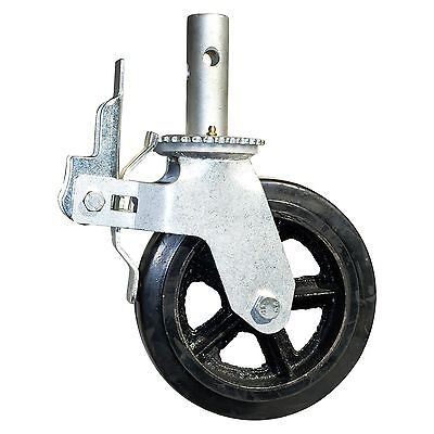 8 Rubber Scaffold Caster Wheels W Locking Brakes 1-38 Stem 500 Lbs. Capacity
