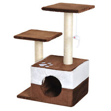 """28"""" Cat Tree Scratcher Condo Play House Activity Center w/ Hanging Toy Brown"""