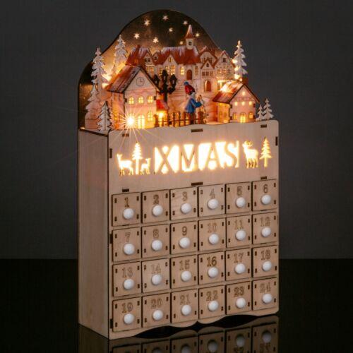 Christmas Village Advent Calendar Decoration w/ LED Light Background Wooden Xmas