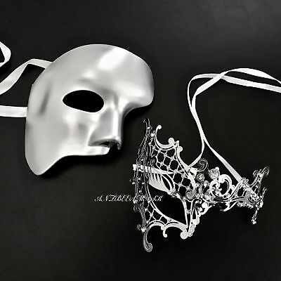 Couple Phantom Theme & Filigree  Metal Venetian Masquerade Prom Ball Masks - Masquerade Themes