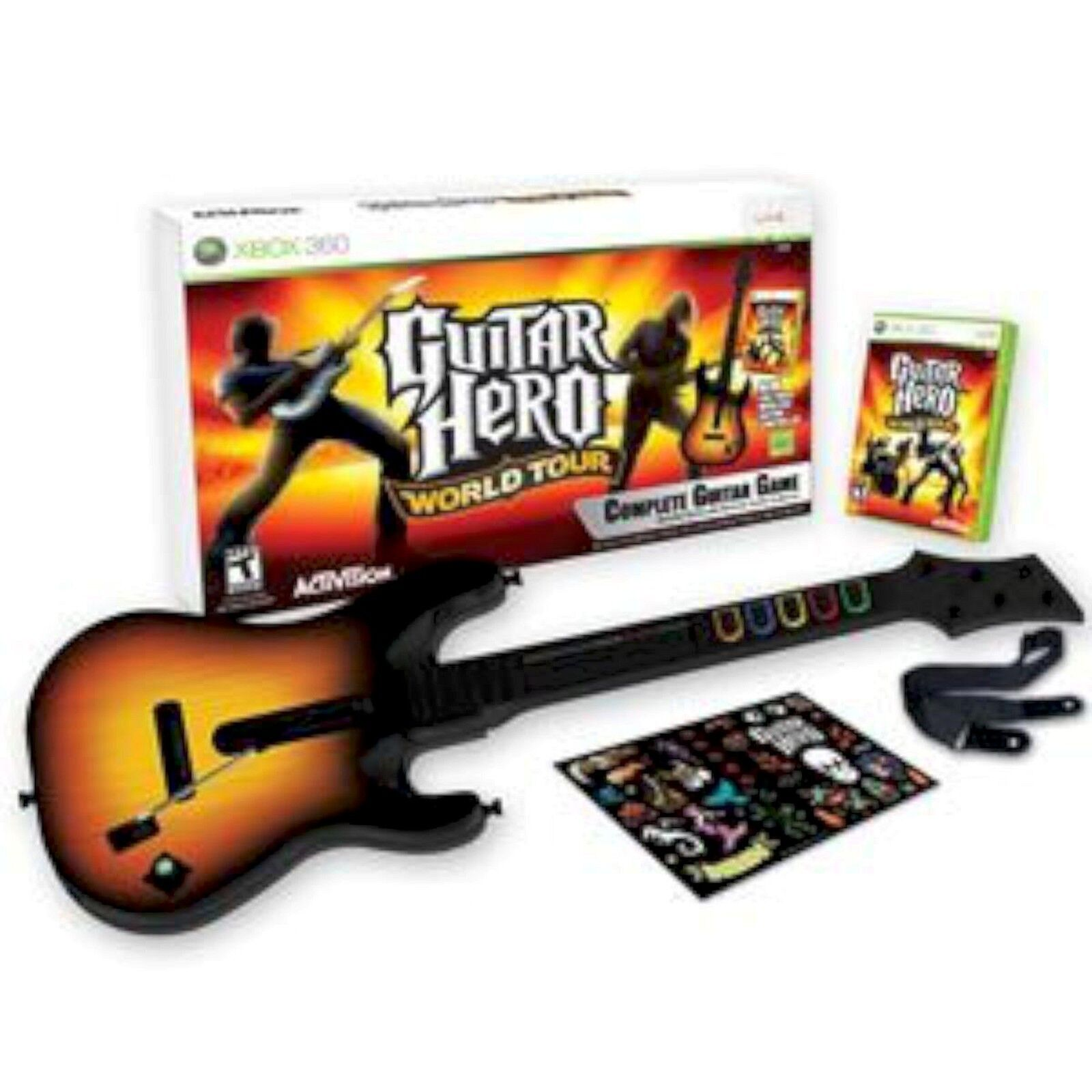 XBox 360 GUITAR HERO WORLD TOUR Guitar Kit Bundle Set w ...