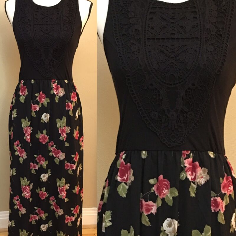 Xhilaration Black Maxi Dress - Embroidered Top Chifon Floral Skirt - Size M
