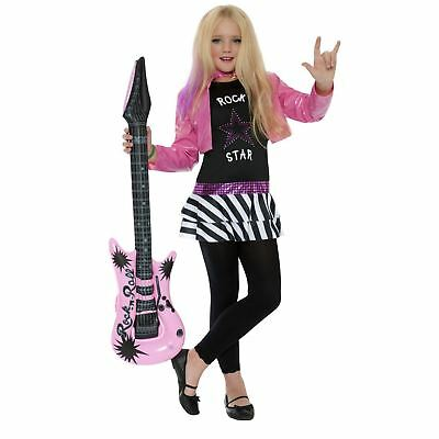 Kids Girls 80s Glam Rockstar Pop Star Music Rock Band Fancy Dress Costume - 80s Music Costumes
