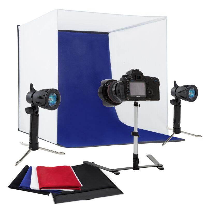"24"" Photo Studio Photography Light Tent Backdrop Kit Cube Lighting Kit In A Box"