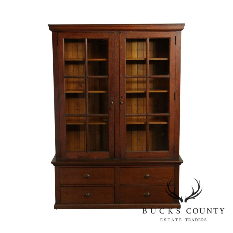 Antique Oak 2 Door Bookcase General Store Cabinet