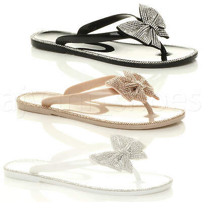 Ladies Jelly Shoes - WOMENS LADIES FLAT JELLY DIAMANTE BOW SUMMER FLIP FLOPS TOE POST SANDALS SIZE