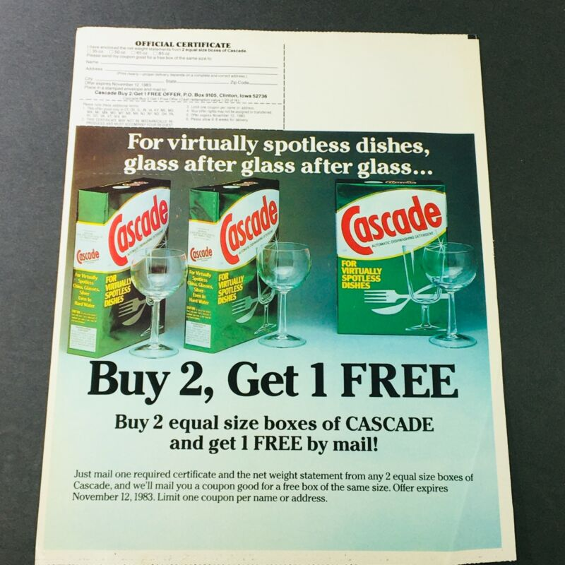 VTG Retro 1983 Cascade Automatic Dishwashing Detergent Buy 2 + 1 FREE Ad Coupon