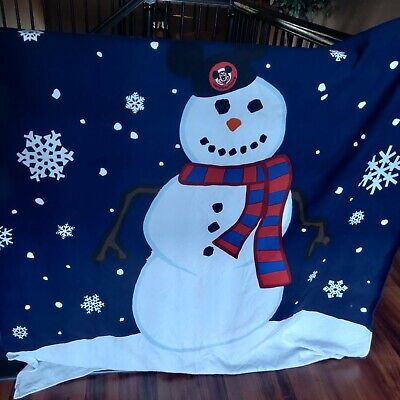 Walt Disney Wolrd Disneyland Snowman Christmas Throw Blanket Fleece 48 X 54