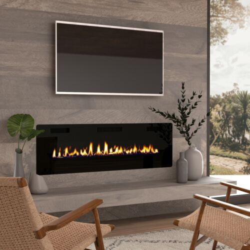 """60"""" Recessed Electric Fireplace Insert Wall Mounted Fireplace Heater"""