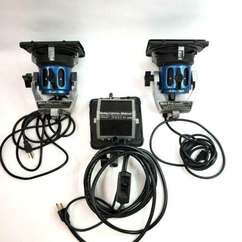 2 Mini-Pro Colortran 100-091 & 1 Berkey Colortran Minibroad Production Lighting