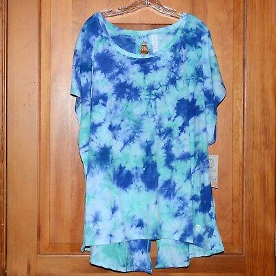 Women Plus Athletic Plus Athletic Top Balance Collection Batik Blue Mix 3X NWT