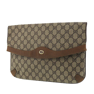 GUCCI GG Plus Clutch Bag Brown PVC Leather Vintage Italy Authentic #RR62 O