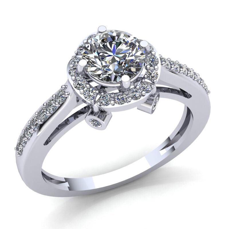 2ct Genuine Round Cut Diamond Ladies Halo Solitaire Engagement Ring 14k Gold