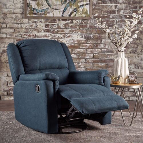 Jemma Tufted Fabric Swivel Gliding Recliner Chair Chairs