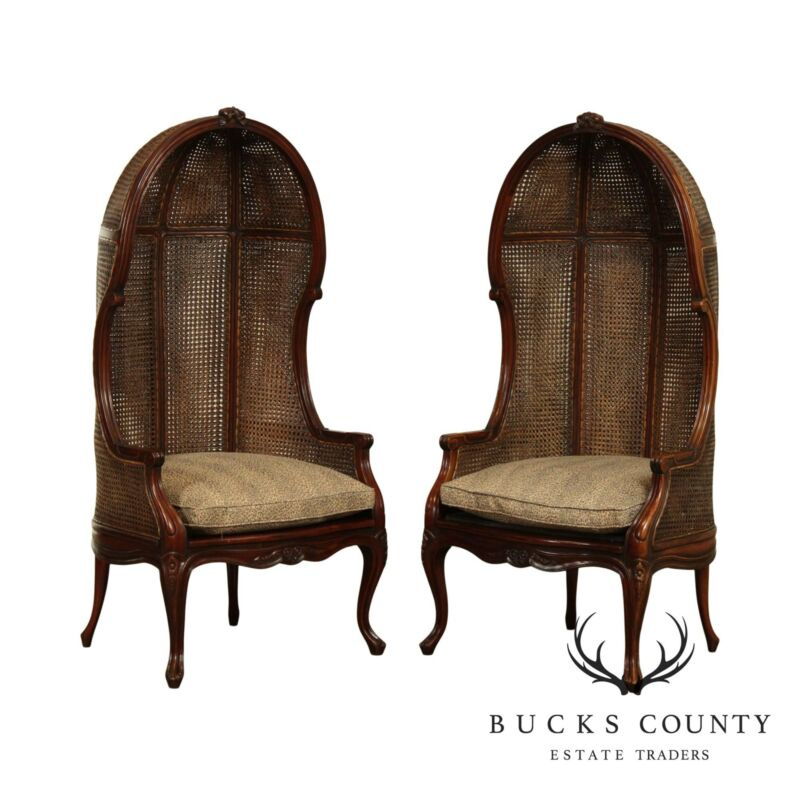French Louis XV Style Quality Pair Caned Canopy Porter Chairs