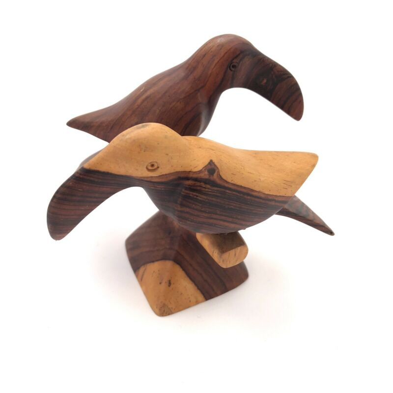 Carved Wood Toucan Figurine Pair on Perch Two Tone Wood Tropical Birds 4""