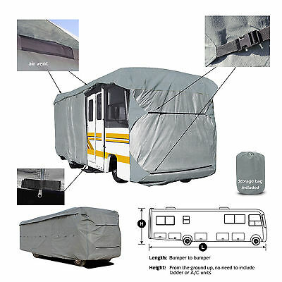 Deluxe 4-Layer Class A RV Motorhome Cover Fits 23'-24'L With Zipper Door Access