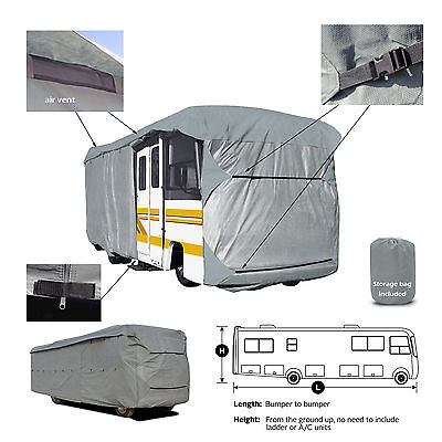 Deluxe 4-Layer Class A RV Motorhome Cover Fits 28'- 29'L With Zipper Door Access