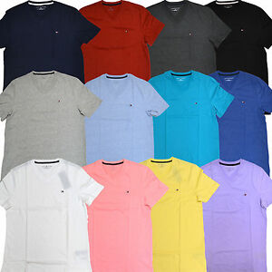 Tommy Hilfiger T Shirt Mens V Neck Classic Fit Tee Solid