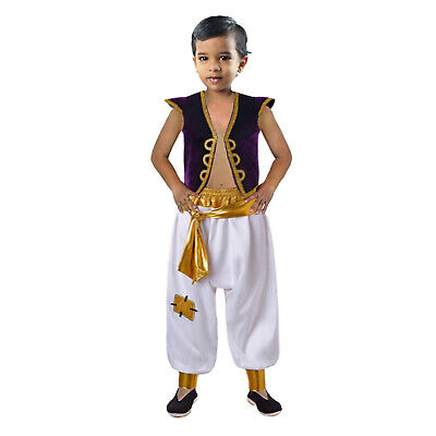Kids Aladdin Costume (Boys Prince Aladdin Costume Arabian Fancy Dress Kids Disney Outfits Party 4-10)