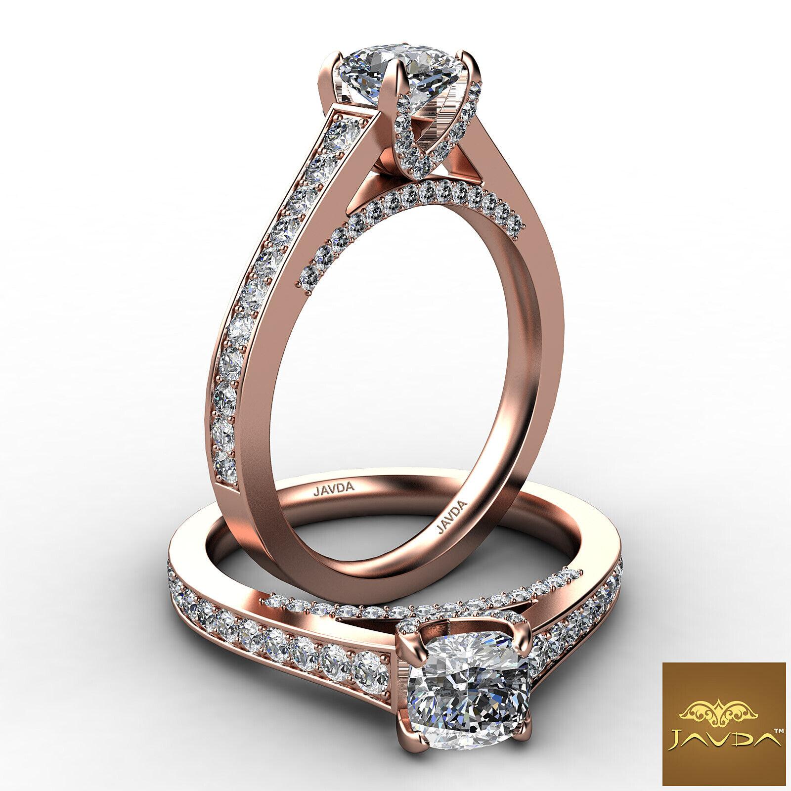 Cushion Cut Diamond Flawless Engagement GIA G VVS2 Pave Set Ring Platinum 1.25Ct 8