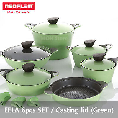 Neoflam EELA aluminum 6 pcs Chef Stockpot & Wok & Multigrill Premium Set -Green