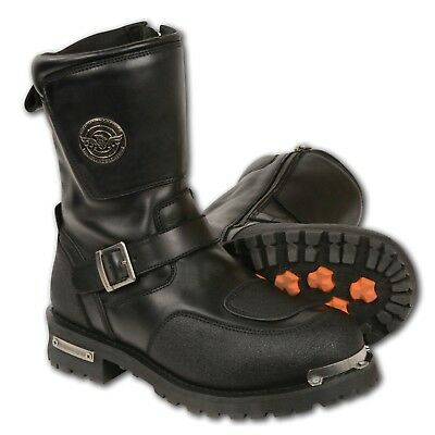 Milwaukee Leather Men's Boot W/ Reflective Piping & Gear Shift Protect'n MBM9070 Gear Shift Boots
