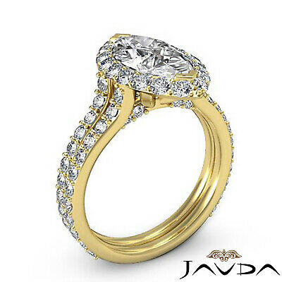 Halo Pave Set Marquise Cut Diamond Engagement Anniversary Ring GIA I SI1 2.36Ct 7