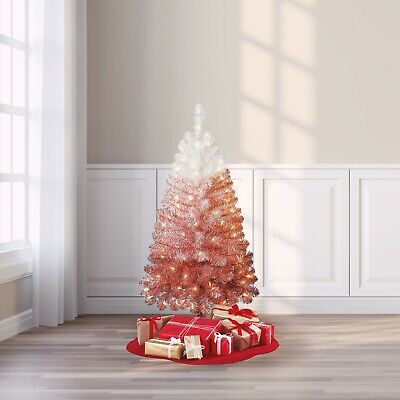 Holiday Time Pre-Lit Ombré Spruce Artificial Christmas Tree, 4' Clear Lights New