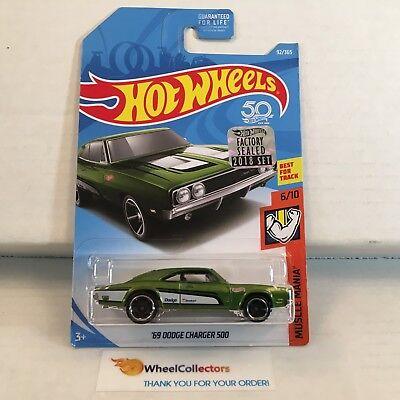 - '69 Dodge Charger 500 #92 * Green * FACTORY SET 2018 Hot Wheels * NH23