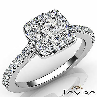 French Pave Set Halo Round Cut Diamond Engagement Anniversary Ring GIA F VS2 1Ct