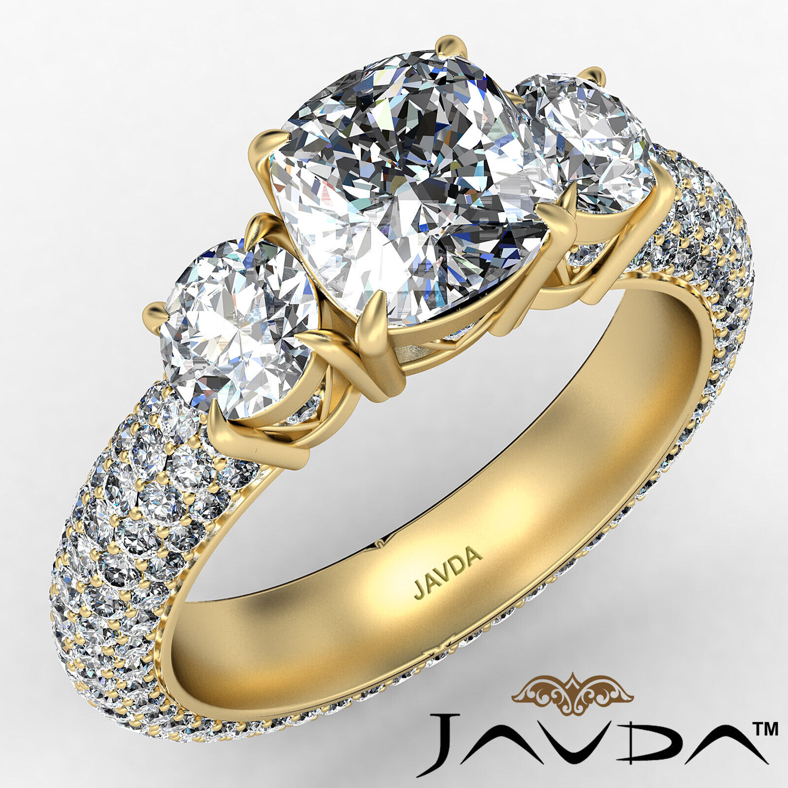 Cushion Diamond Engagement Ring Certified by GIA, G Color & SI1 clarity 3.44 ctw 1
