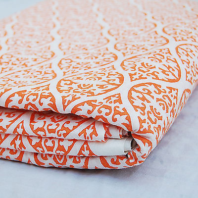 Indian Hand Printed Running Christmas Cotton Fabric Orange wht 10 yards HDOCF-51 - Handprint Christmas Crafts