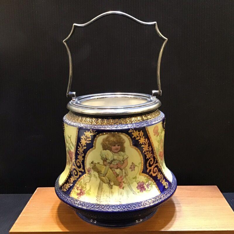 W & W Biscuit Barrel Biscuit Jar English Antique Victorian Child Flower Basket