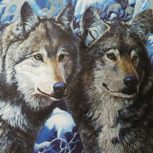 Vintage Metallic Blue Silver Wolf Print Black Matted 8x10 Winter Wolves Snow