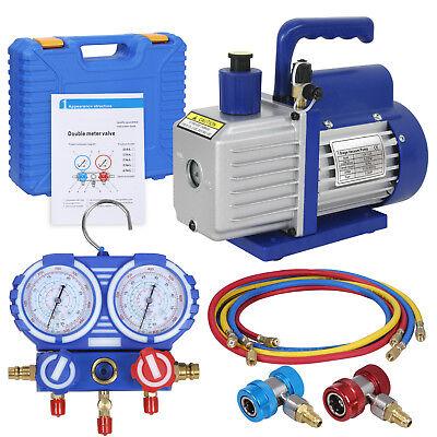 Combo 5 Cfm 13hp Air Vacuum Pump Hvac R134a Kit Ac Ac Manifold Gauge Set