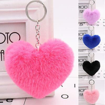 - Heart Shape Soft Fluffy Fur Ball PomPom Keychain Handbag Pendant Charm Key Ring